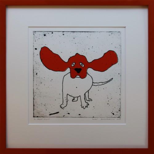 Collografi, serigrafi mått bild 30x30 cm, med ram 51x52 cm.